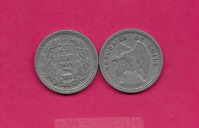Chile Rep 20 Centavos 1939 Vf Defiant Condor On Rock Left,with O. Roty At Bottom