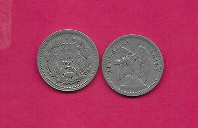 Chile Rep 20 Centavos 1932 Vf-Xf Defiant Condor On Rock Left,with O. Roty At Bot