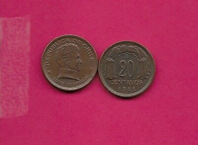 Chile Rep 20 Centavos 1951 Vf-Xf This Coin Is Called Chaucha Armored Bust Of Ber