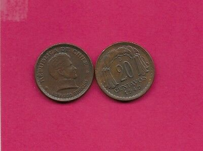 Chile Rep 20 Centavos 1949 Vf-Xf This Coin Is Called Chaucha Armored Bust Of Ber