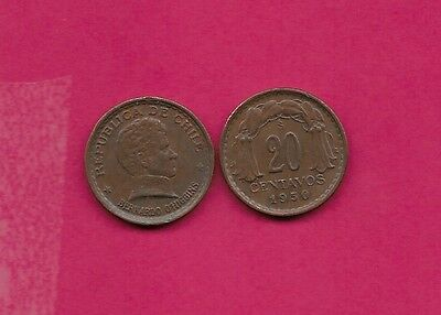 Chile Rep 20 Centavos 1950 Vf-Xf This Coin Is Called Chaucha Armored Bust Of Ber