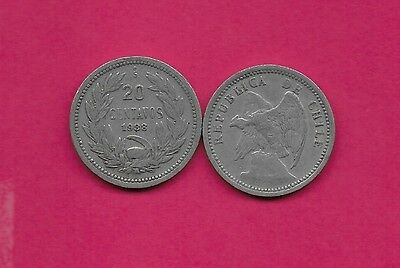 Chile Rep 20 Centavos 1938 Vf-Xf Defiant Condor On Rock Left,with O. Roty At Bot