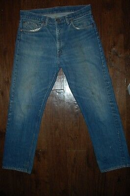 VTG LEVIS USA 505 0217 RED TAB WORN SINGLE STITCH TALON DENIM JEANS 36 x 30