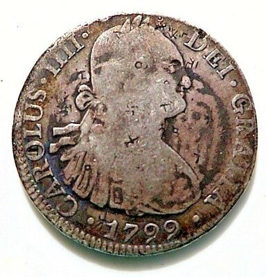 1799 8 Reales Mexico Very Rare Bankers Ink Stamped Chopmarks 1 Of 4 Listing