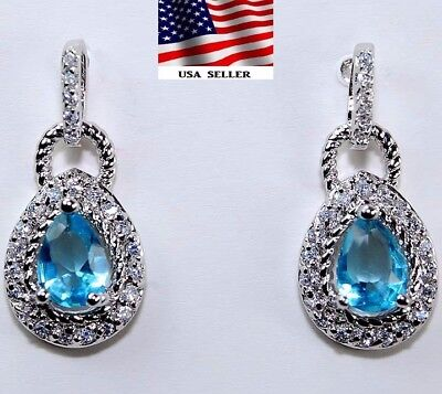 2CT Aquamarine & White Topaz 925 Solid Genuine Sterling Silver Earrings Jewelry