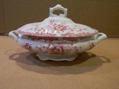 Small Covered Tureen w/ Lid Pink/Red Transfer  Glebe St. Pottery 1898-1922