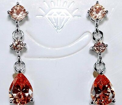 3CT Padparadscha Sapphire 925 Solid Sterling Silver Earrings Jewelry