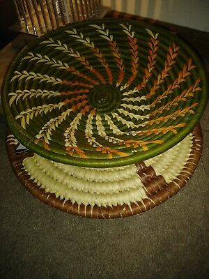 "2 TEN THOUSAND VILLAGES Hand-woven    Reed Basket 10"" New Made In Uganda Africa"