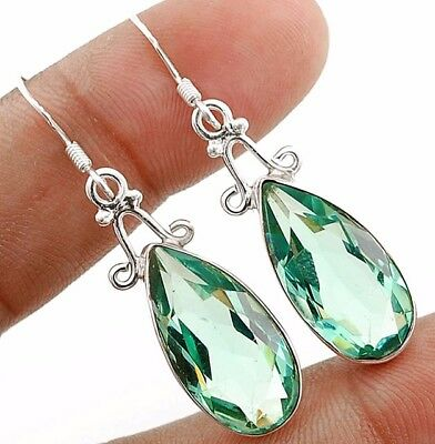 18CT Aquamarine 925 Solid Sterling Silver Earrings Jewelry 1 2/3''