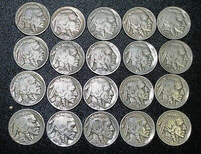 20 FULL-DATE Buffalo Nickels (1/2 Roill)
