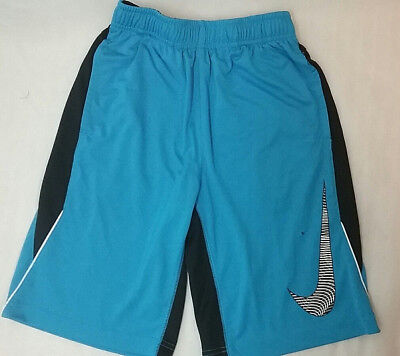 Nike Dri Fit Boys Blue Black Athletic Shorts Size Large 11x9 BURN HOLES  (D)