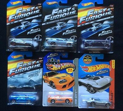 Fast & Furious Movie Theme Die-Cast Lot Of 6, Rare Mix, Universal,Mattel