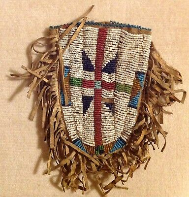 Old Antique Plains Indian Native American Animal Skin Beaded Leather Pouch Bag