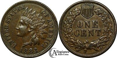 1883 1c Indian Head Cent AU+ MS BU rare old type coin old money penny BN brown