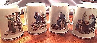 Set of 4 - 1985 Norman Rockwell Nautical Themed Coffee Cups Mugs w/Gold Trim NR!