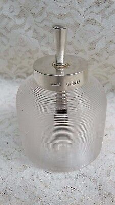J GRINSELL & SONS 1892 Victorian ENGLISH STERLING SILVER Ribbed Glass Glue Pot