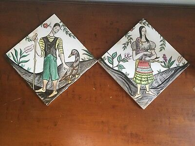 Antique Old Pair Wheeling Tile Man Woman Golden Goose Loving Animal Compassion