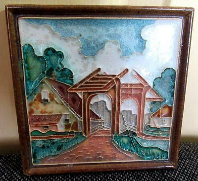 Porceleyne Fles Delft Art Tile Ceramic Dutch Farmhouse Drawbridge Bridge Holland