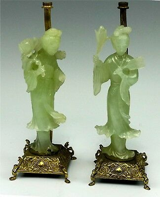 Pair Carved Celedon Jade Chinese Woman Figural Lamp Bases on Ornate Bases