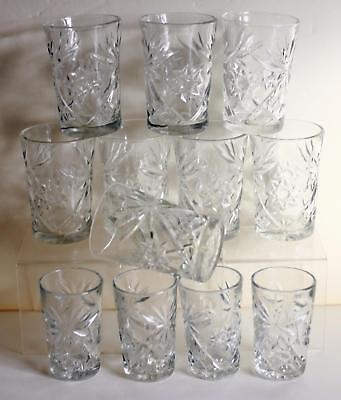 Lot Of 12 Vintage Anchor Hocking Early American Prescut Tumblers- Juice &  Water