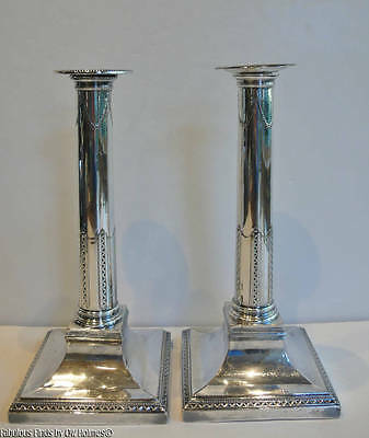 Old or Antique Sheffield Silverplate English Candlesticks Classical Revival