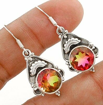 4CT Double Color Tourmaline Quartz 925 Solid Sterling Silver Earrings Jewelry