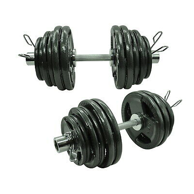 78kg - 50cm Olympic Dumbell Bar Weight Set - Cast Iron Triple Handle Grip Plate
