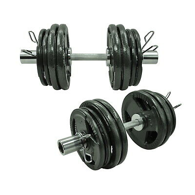 68kg - 50cm Olympic Dumbell Bar Weight Set - Cast Iron Triple Handle Grip Plate