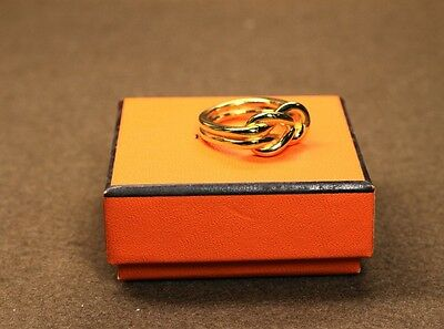 Authentic HERMES Gold Tone Atame Scarf Ring + Box