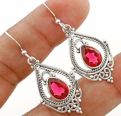 3CT Rubellite Tourmaline 925 Solid Sterling Silver Earrings Jewelry