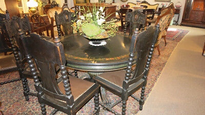Antique Fumed Oak Hand Painted Dining Table & Chairs - Local Pickup Only