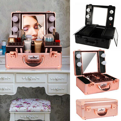 Pro Portable Lighted Cosmetic Make Up Travel Train Case Vanity