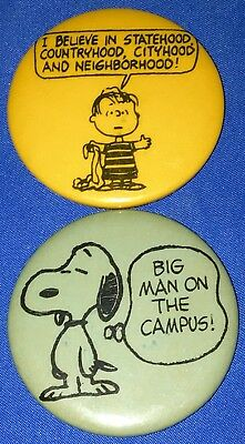 RARE Circa 1950s United Featured Syndicate Peanuts Snoopy-n-Linus Pinback Pins