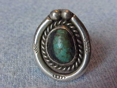 Old Pawn Sterling Silver Ring Size 7, Sm Turquoise Gemstone, Cute