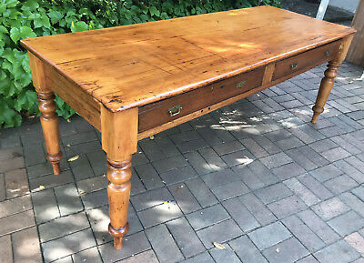 Antique Pine And Cedar Banquet Library Table 8 Seater Free Melb Delivery W Bin!