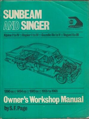 Sunbeam Alpine 2-Seater Series I Ii Iii Iv ( 1959 - 1965 ) Owner Workshop Manual