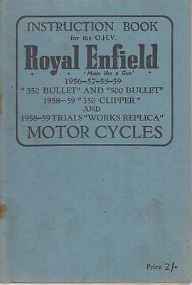 Royal Enfield 350 500 Bullet 350 Clipper & Trials Works 1958-59 Owners Handbook