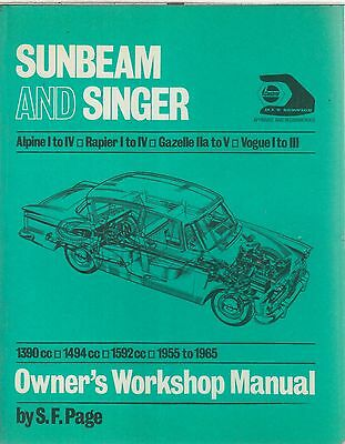 Sunbeam Alpine 2-Seater Series I Ii Iii Iv ( 1959 - 1965 ) Workshop Manual *vgc*