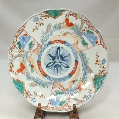 D114: Japanese OLD IMARI colored porcelain plate with appropriate good painting