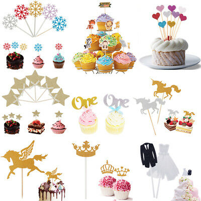 Heart Animal Crown Birthday Cupcake Toppers Party Baby Shower Wedding Cake Decor