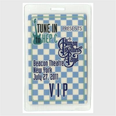 Allman Brothers authentic 2011 concert Laminated Backstage Pass Tune In Hep C