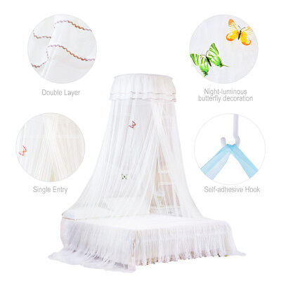Mosquito Net Round Curtain Dome Bed Canopy Single Entry Netting for 1.2-1.8m Bed
