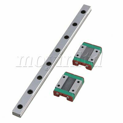 MGN12 Bearing Steel Linear Guide Rail & 2 Sliding Rail Block Set Silver