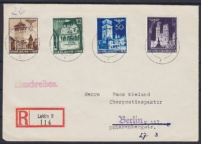 GG Mi Nr. 40, 43, 48, 50 MiF R- Brief, Lublin - Berlin 1940, Generalgouvernement