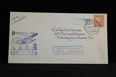 Macao: 1937 04/28 First Flight Cover to Hawaii, Single Use