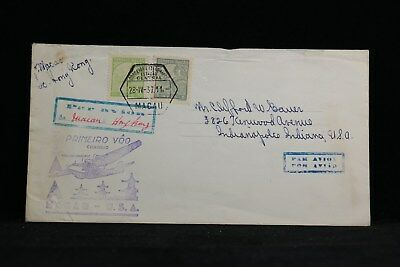 Macao: 1937 04/28 First Flight Cover to Hong Kong