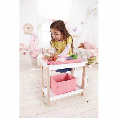 NEW Hape Baby Changing Table -Girls Dolls Pink Wooden Change Table Doll Play Toy