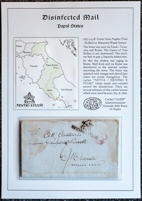 1837 Cholera epidemic Rome – disinfected mail / purifiee fumigated desinfiziert