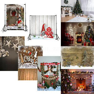 7x5FT Christmas Theme Vinyl Fireplace Photography Background Props Studio