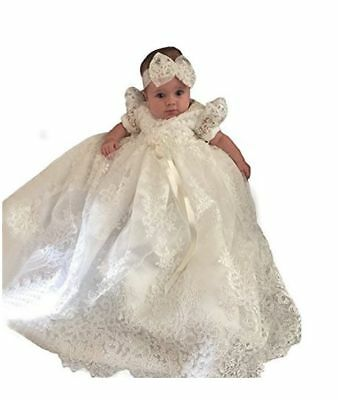 Christening Gown Baby Girl Lace BAPTISM Dedication Dress Communion  4-6M